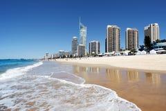 Пляж рая серферов, свободный полет золота Стоковое фото RF