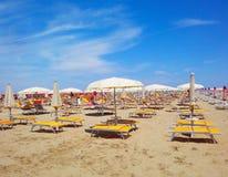 Пляж Римини, Италия Стоковое Изображение RF