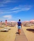 Пляж Римини, Италия Стоковая Фотография RF