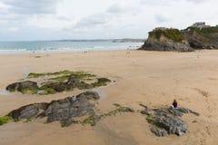 Пляж северный Корнуолл Англия Великобритания Newquay Стоковые Изображения RF