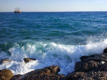 Пляж стороны Турции Антальи Manavgat Стоковые Изображения RF