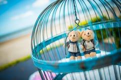 Пляж, украшение кукол медведя влюбленности Стоковая Фотография