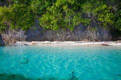Пляж фото нетронутый тропический в острове Бали Океан Вест-Инди сезона лета голубая вода Горизонтальное изображение Стоковые Фотографии RF
