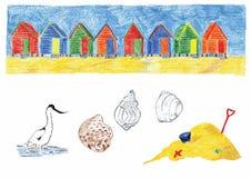 Пляж-хаты Стоковое Фото