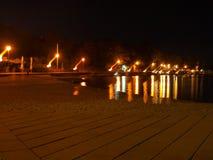 Пляж Хорватии в ноче Стоковые Фотографии RF