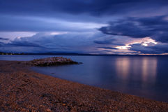 Пляж Хорватии на ноче Стоковое фото RF