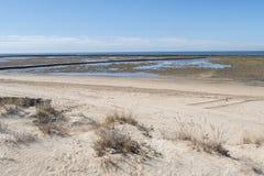 Пляж чистосердечности Punta, расписание дежурств, Кадис, Испания Удя плотина, плотина рыб, Стоковая Фотография RF