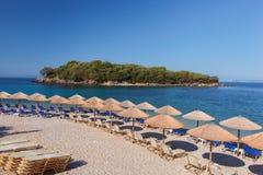 Пляж Agia Paraskevi на Sivota (Syvota), Греции Стоковые Изображения