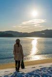Пляж Amanohashidate в утре зимы Стоковые Изображения