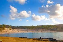 Пляж Anakena, остров пасхи, Чили Стоковые Изображения