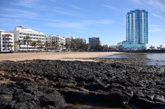 Пляж Arrecife, Лансароте Стоковое Изображение RF