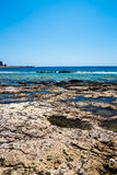 Пляж Balos Взгляд от острова Gramvousa, Крита в водах бирюзы Greece Волшебная бирюза мочит, лагуны, пляжи чисто белого песка стоковое изображение
