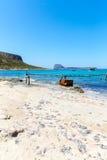 Пляж Balos. Взгляд от острова Gramvousa, Крита в водах бирюзы Greece.Magical, лагунах, пляжах стоковые изображения rf