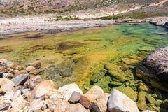Пляж Balos. Взгляд от острова Gramvousa, Крита в водах бирюзы Greece.Magical, лагунах, пляжах стоковое изображение rf