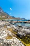 Пляж Balos. Взгляд от острова Gramvousa, Крита в водах бирюзы Greece.Magical, лагунах, пляжах стоковая фотография