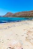 Пляж Balos. Взгляд от острова Gramvousa, Крита в водах бирюзы Greece.Magical, лагунах, beache стоковые фотографии rf