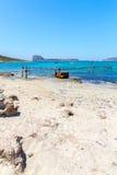 Пляж Balos. Взгляд от острова Gramvousa  стоковые изображения