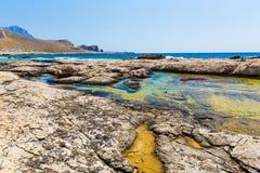 Пляж Balos. Взгляд от острова Gramvousa  стоковое фото