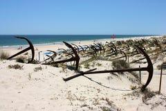 Пляж Barril в Португалии Стоковая Фотография RF