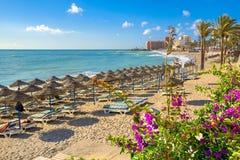 Пляж Benalmadena, провинция Малаги, Андалусия, Испания стоковое изображение