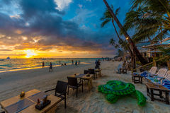 Пляж Boracay захода солнца Стоковые Изображения RF
