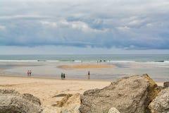 Пляж Cabedelo в Figueira da Foz, Португалии Стоковое Изображение RF