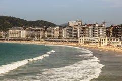 Пляж Concha La в Сан Sebastian, Испании стоковое фото rf