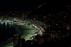 Пляж Copacabana на ноче Стоковое Изображение RF