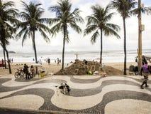 Пляж Copacobana в Рио de Janerio, Бразилии Стоковое Изображение