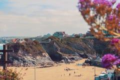 пляж cornwall newquay стоковое изображение