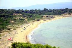 Пляж Elia Mandraki, Skiathos, Греция Стоковые Фотографии RF