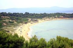 Пляж Elia Mantraki, Skiathos, Греция Стоковая Фотография