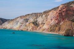 Пляж Firiplaka, Milos остров, Киклады, эгейские, Греция Стоковое Изображение