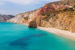 Пляж Firiplaka, Milos остров, Киклады, эгейские, Греция Стоковая Фотография