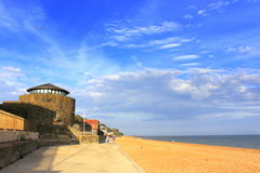 Пляж Folkestone Кент Великобритания Sandgate Стоковое Изображение RF