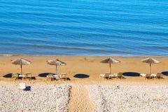 Пляж Gerakas (защищенное гнездовье черепахи Caretta Caretta) на острове Закинфа Стоковая Фотография RF