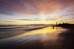 Пляж Gran Canaria захода солнца Стоковые Фотографии RF