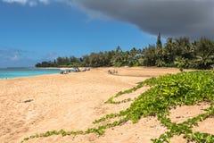 Пляж Haena в Кауаи, Гаваи стоковое фото rf