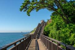 Пляж HaeUnDae на Пусане в Корее Стоковая Фотография