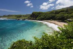 Пляж Hamoa около Ганы на Ист-Сайд Мауи, Гаваи Стоковое Фото