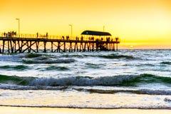 Пляж Henley на заходе солнца Стоковые Фото