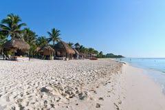 Пляж на Playa del Carmen, Мексике Стоковые Изображения