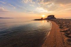 Пляж Ierissos-Kakoudia, Греция Стоковое Изображение RF
