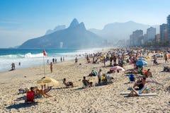 Пляж Ipanema в Рио-де-Жанейро, Бразилии стоковое фото