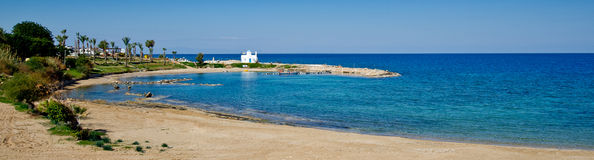 Пляж Kalamies, protaras, Кипр Стоковая Фотография RF