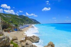 Пляж Kathisma, остров лефкас, Греция Пляж Kathisma один из Стоковое Фото