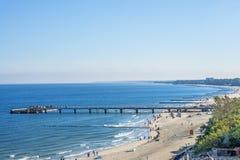 Пляж Kolobrzeg, Польши, Балтийского моря Стоковые Изображения