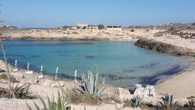 Пляж lampedusa Италия Стоковые Изображения