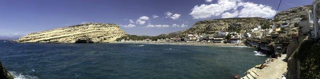 Пляж Matala на Крите, Греции Стоковая Фотография RF