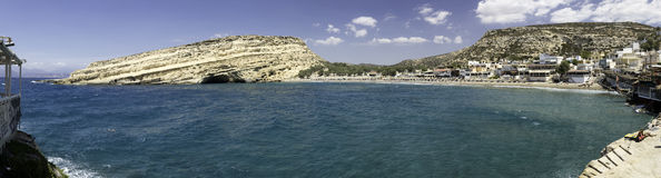 Пляж Matala на Крите, Греции Стоковое Фото